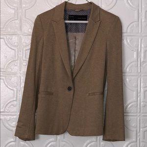 Khaki heathered cotton blazer by Zara Basic